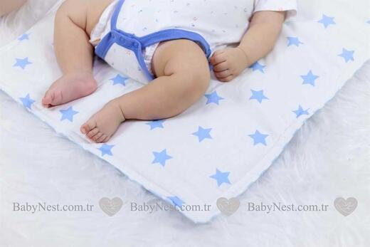 Alt Açma Yastıklı - Lila Yıldız ve Mavi Zikzak - Thumbnail