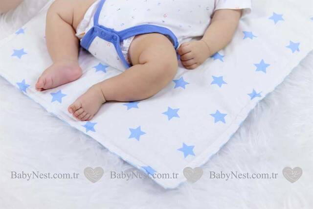 Alt Açma Yastıklı - Lila Yıldız ve Mavi Zikzak