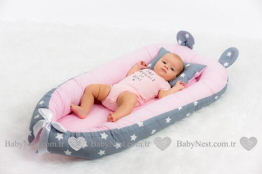 BabyNest - BabyNest Büyük Gri Yıldız ve Açık Pembiş