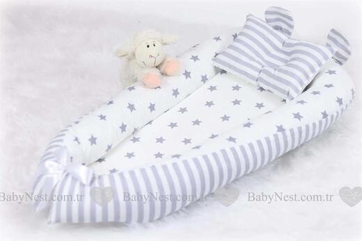 BabyNest - BabyNest Büyük Gri Yıldız ve Gri Çizgili