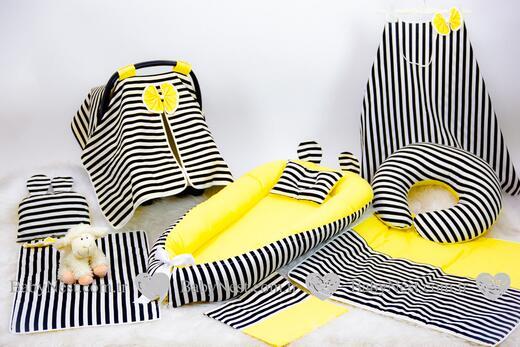 BabyNest Seti - BabyNest FULL Set Sarı ve Siyah Çizgili