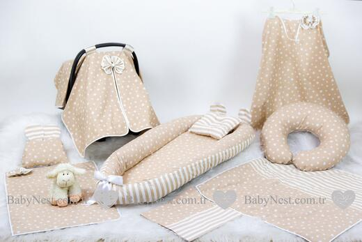 BabyNest Seti - BabyNest FULL Seti BabyNest Krem Yıldız ve Krem Çizgili