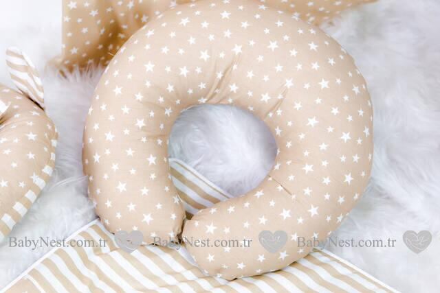 BabyNest FULL Seti BabyNest Krem Yıldız ve Krem Çizgili