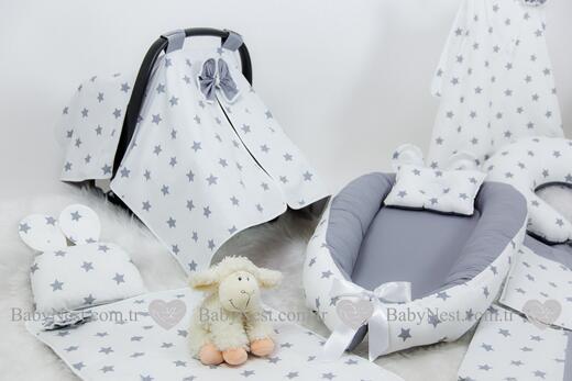 BabyNest FULL Seti BabyNest Gri ve Gri Yıldız - Thumbnail