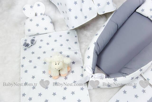 BabyNest FULL Seti BabyNest Gri ve Gri Yıldız