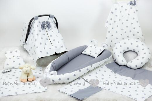 BabyNest Seti - BabyNest FULL Seti BabyNest Gri ve Gri Yıldız