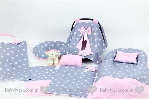 BabyNest Seti - BabyNest FULL Seti Büyük Gri Yıldız ve Açık Pembe