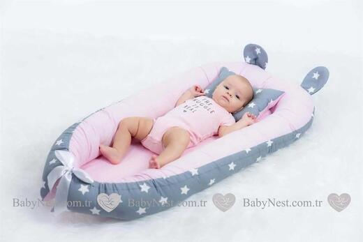 BabyNest FULL Seti Büyük Gri Yıldız ve Açık Pembe - Thumbnail