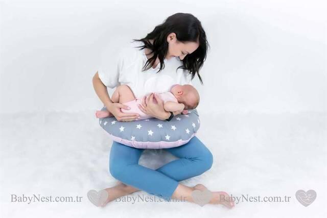 BabyNest FULL Seti Büyük Gri Yıldız ve Açık Pembe