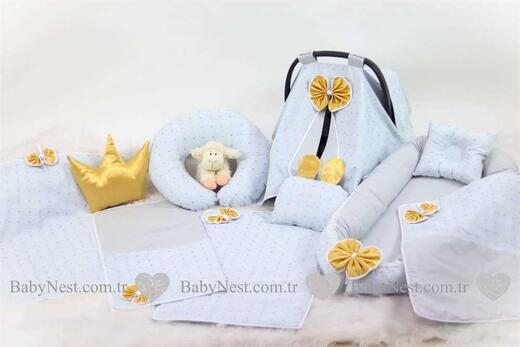 BabyNest Seti - BabyNest FULL Seti Gold Puantiye