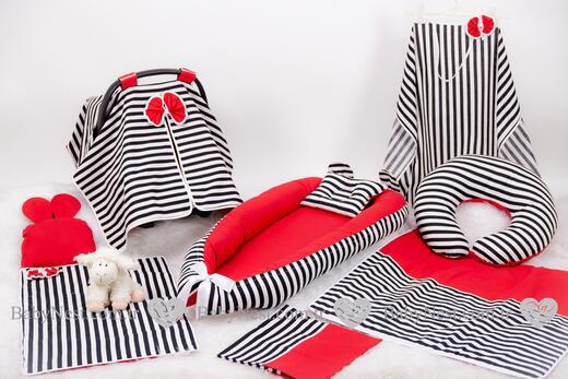 BabyNest Seti - BabyNest FULL Seti Kırmızı ve Çizgilim