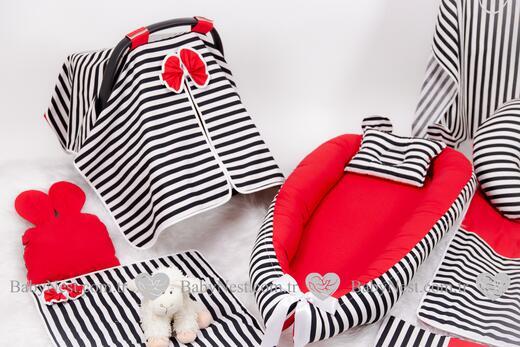 BabyNest FULL Seti Kırmızı ve Çizgilim - Thumbnail