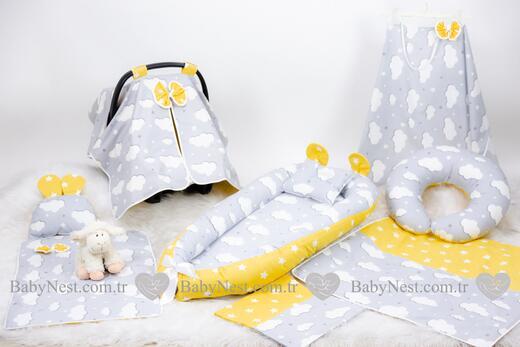 BabyNest Seti - BabyNest FULL Seti Gri Bulut Sarı Yıldızım