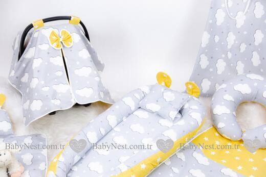 BabyNest FULL Seti Gri Bulut Sarı Yıldızım - Thumbnail