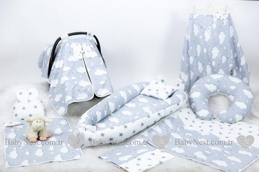 BabyNest Seti - BabyNest FULL Seti Gri Yıldız ve Gri Bulut