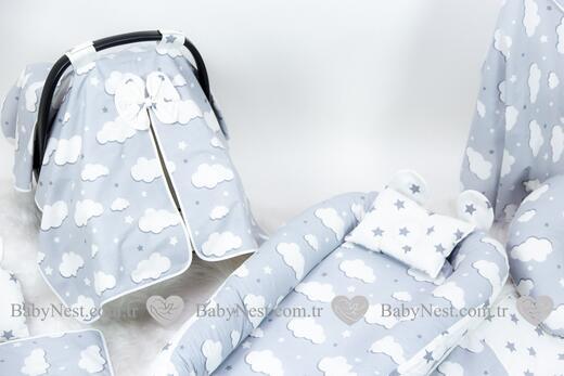 BabyNest FULL Seti Gri Yıldız ve Gri Bulut - Thumbnail