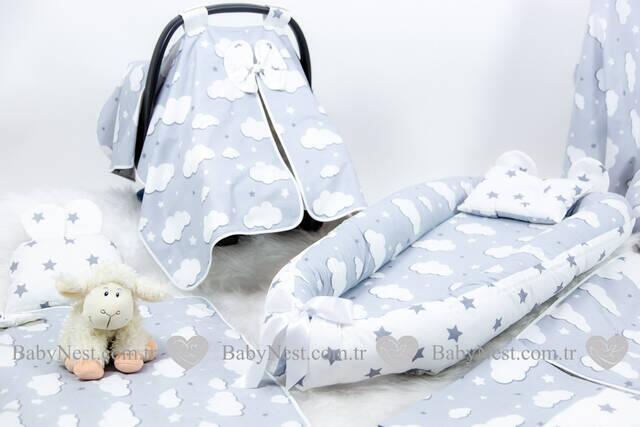 BabyNest FULL Seti Gri Yıldız ve Gri Bulut
