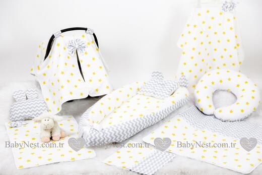 BabyNest Seti - BabyNest FULL Seti Büyük Sarı Yıldız ve Gri Zigzag