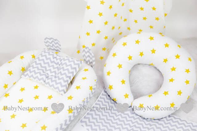 BabyNest FULL Seti Büyük Sarı Yıldız ve Gri Zigzag