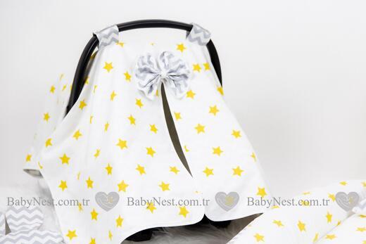 BabyNest FULL Seti Büyük Sarı Yıldız ve Gri Zigzag - Thumbnail