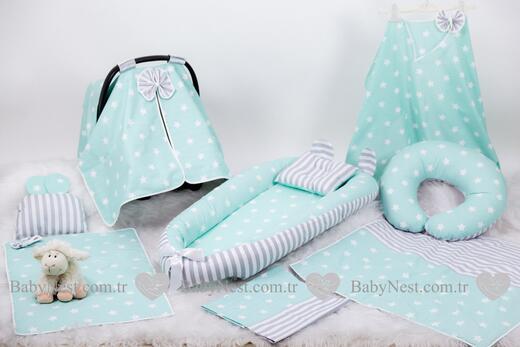 BabyNest Seti - BabyNest FULL Seti Yeşil Büyük Yıldız ve Gri Çizgili