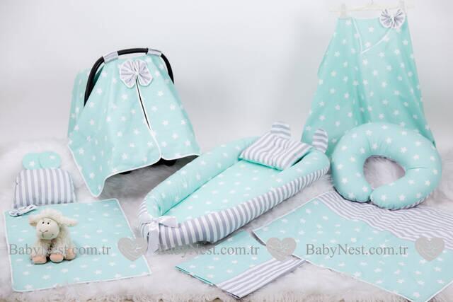 BabyNest FULL Seti Yeşil Büyük Yıldız ve Gri Çizgili