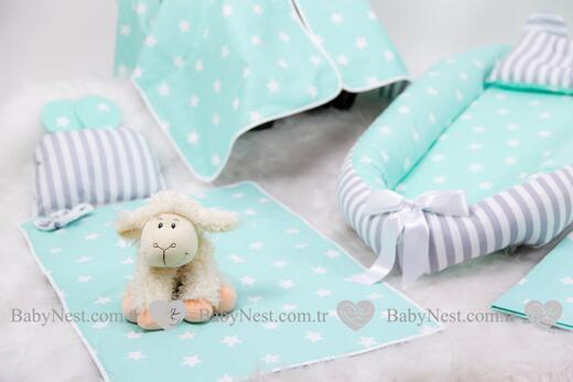 BabyNest FULL Seti Yeşil Büyük Yıldız ve Gri Çizgili - Thumbnail