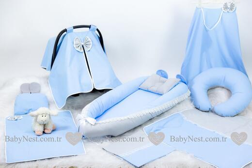 BabyNest Seti - BabyNest FULL Seti Mavi ve Gri Güpürlü