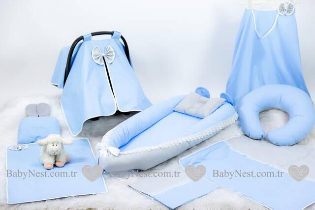 BabyNest FULL Seti Mavi ve Gri Güpürlü