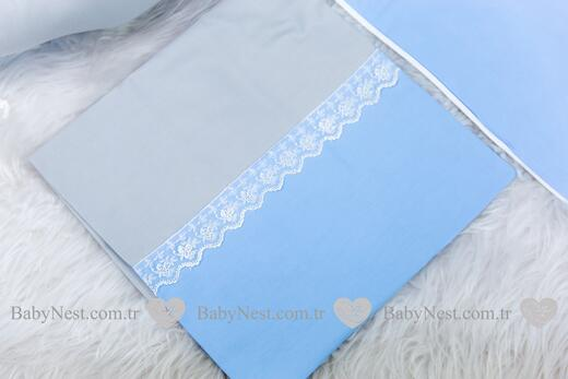 BabyNest FULL Seti Mavi ve Gri Güpürlü - Thumbnail