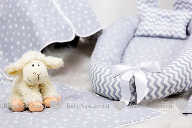 BabyNest FULL Seti Gri Yıldız ve Zikzak