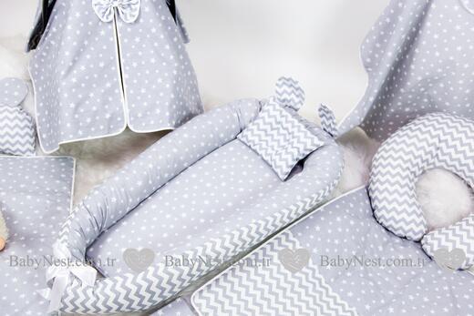 BabyNest FULL Seti Gri Yıldız ve Zikzak - Thumbnail