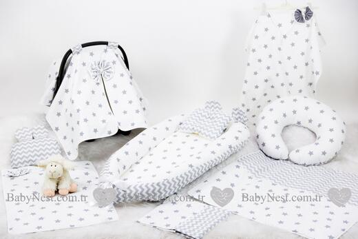 BabyNest Seti - BabyNest FULL Seti Büyük Gri Yıldız ve Gri Zikzak