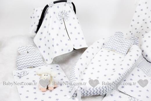 BabyNest FULL Seti Büyük Gri Yıldız ve Gri Zikzak - Thumbnail