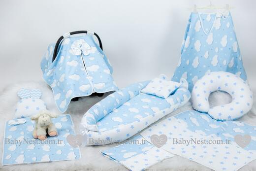 BabyNest Seti - BabyNest FULL Seti Mavi Yıldız ve Mavi Bulutum