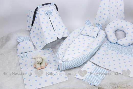 BabyNest FULL Seti Mavi Yıldız ve Mavi Zikzak - Thumbnail