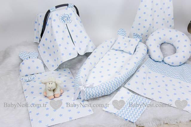 BabyNest FULL Seti Mavi Yıldız ve Mavi Zikzak