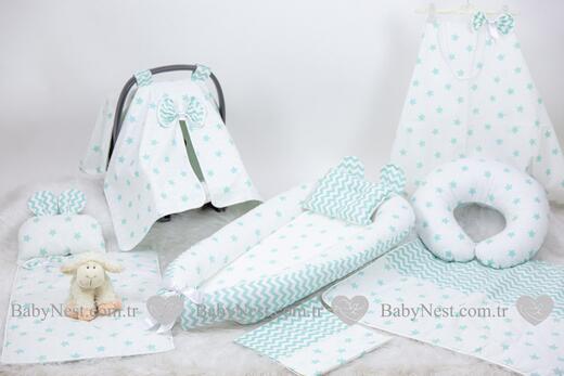 BabyNest Seti - BabyNest FULL Seti Yeşil Büyük Yıldız ve Zikzak