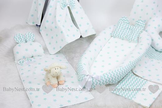 BabyNest FULL Seti Yeşil Büyük Yıldız ve Zikzak - Thumbnail