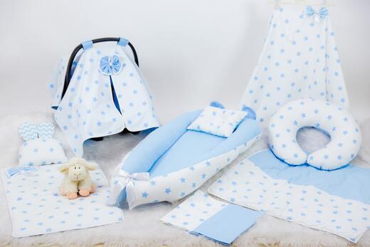 BabyNest Seti - BabyNest FULL Seti Mavi ve Gri Yıldız