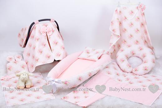 BabyNest Seti - BabyNest FULL Seti Çiçekli Somon