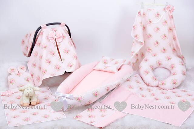 BabyNest FULL Seti Çiçekli Somon