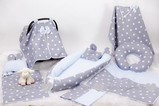 BabyNest Seti - BabyNest FULL Seti Gri Yıldız ve Mavi