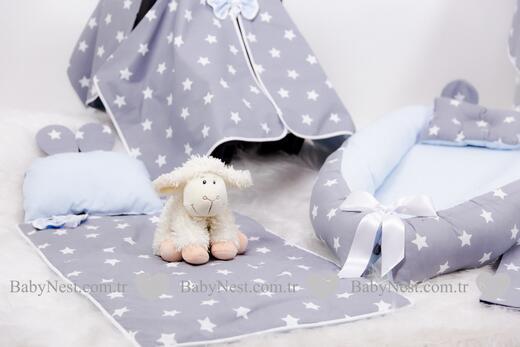 BabyNest FULL Seti Gri Yıldız ve Mavi - Thumbnail