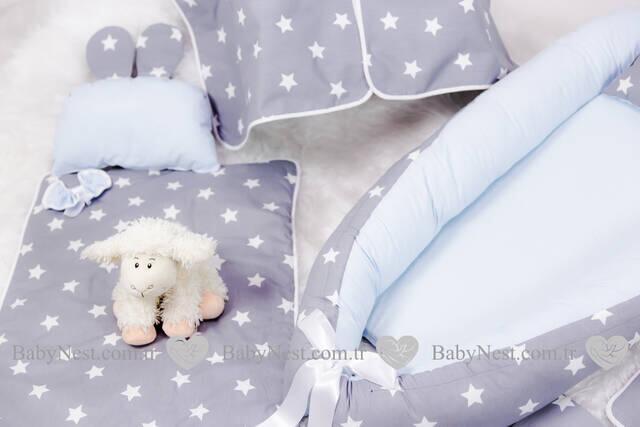 BabyNest FULL Seti Gri Yıldız ve Mavi