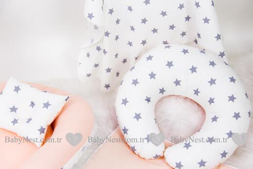 BabyNest FULL Seti Gri Büyük Yıldız ve Pudra - Thumbnail