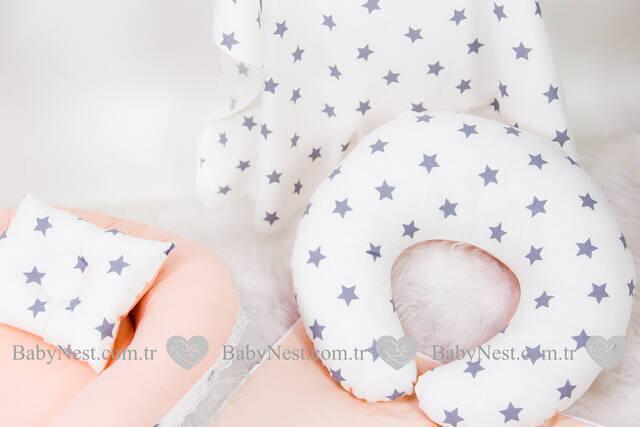 BabyNest FULL Seti Gri Büyük Yıldız ve Pudra