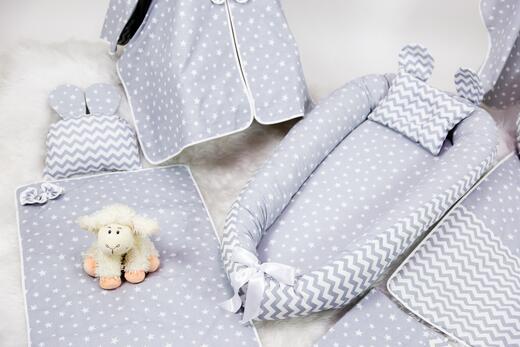 BabyNest FULL Seti Gri Yıldız ve Gri Zikzak - Thumbnail