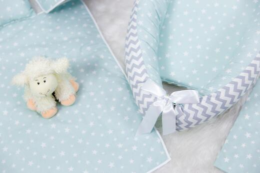 BabyNest FULL Seti Gri Zikzak ve Mint Küçük Yıldız - Thumbnail