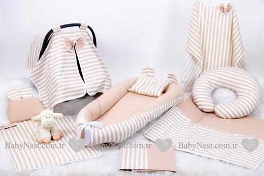 BabyNest Seti - BabyNest FULL Seti Krem Düz Çizgilim